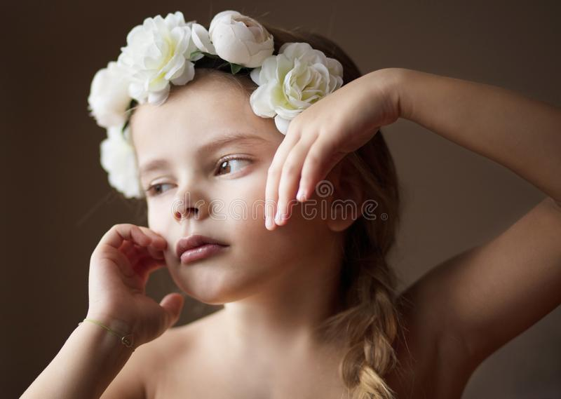 Natural adornment. Little beauty girl. Close up stock image