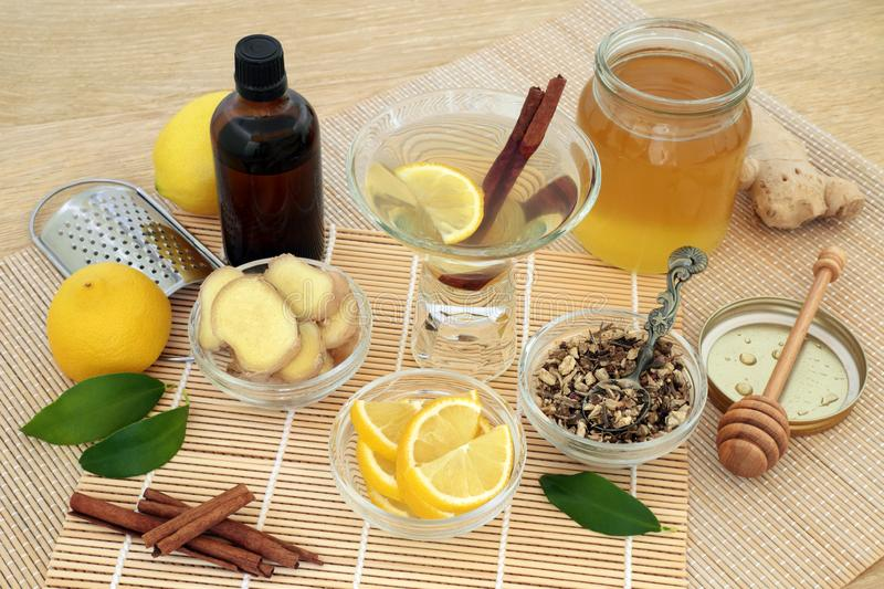 Natural Alternative Cold and Flu Remedy stock images