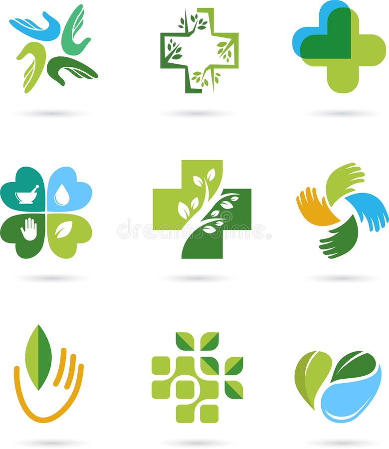 Natural Alternative Herbal Medicine icons. Natural Alternative Herbal Medicine and Healthcare icons and element set stock illustration