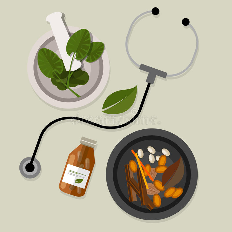 Natural alternative medicine traditional vector illustration