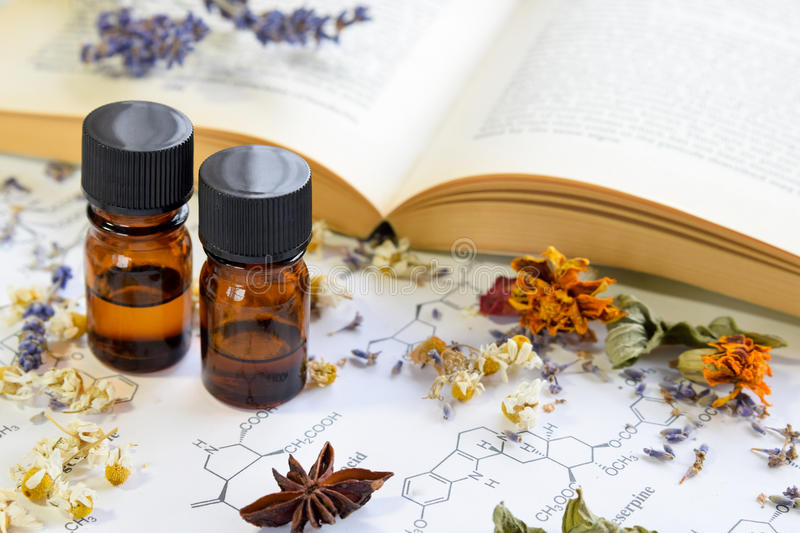Natural apothecary with essential oils stock photo