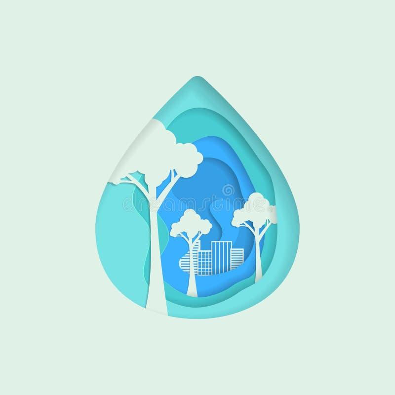 Natural aqua water drop. Vector abstract waterdrop paper cut. Save water - ecology concept vector illustration