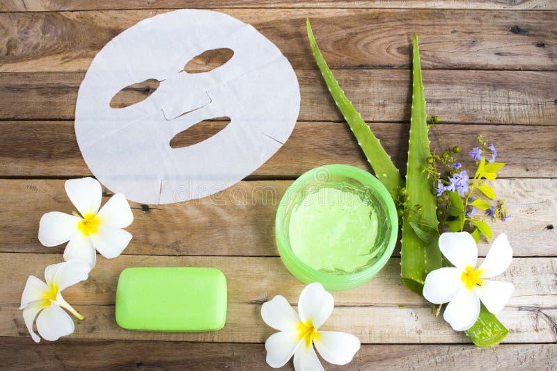 Natural aroma sheet mask ,soothing gel extract herbal aloe vera health care skin face. Natural cosmetics sheet mask, soothing gel ,soap extract herbal aloe vera royalty free stock photos
