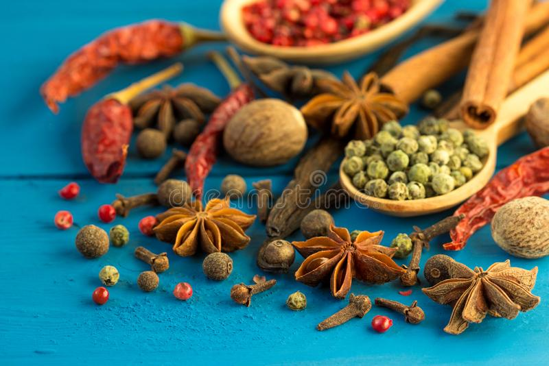 Natural aroma spices for cooking food. stock photo