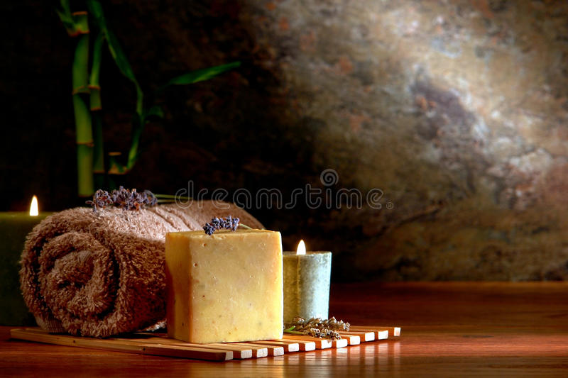 Natural Aromatherapy Bath Soap Bar in a Luxury Spa stock photos