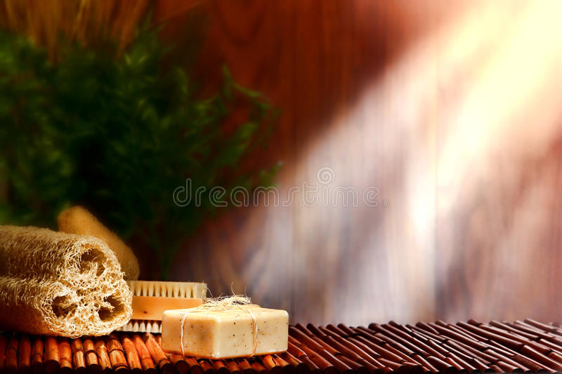 Natural Aromatherapy Care Bath Soap Bar in a Spa royalty free stock image