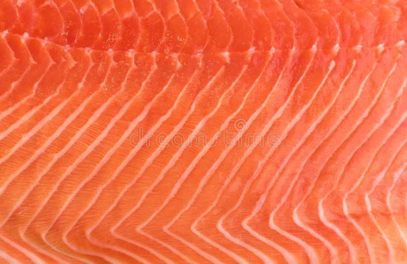 Natural Atlantic Norwegian Salmon Fillet Texture or Pattern. Closeup. Macro Photo Fresh Red Fish or Trout Background Top View royalty free stock photos