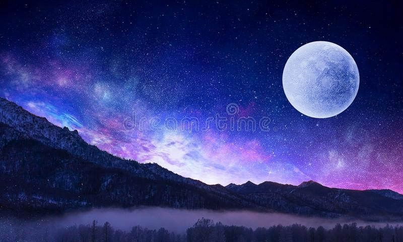 Starry sky and moon. Mixed media stock images