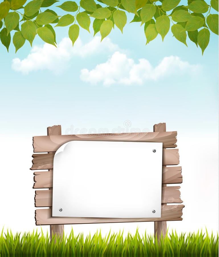 Natural background with leaves and a wooden sign. Vector stock illustration