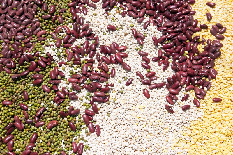 Natural background made from different kinds of pea and nuts. Mix nuts and pea background royalty free stock photos