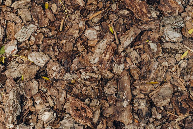 Natural background of red and brown pieces of tree bark wood chip mulch for gardening or natural themes royalty free stock images