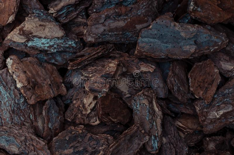 Natural background of red and brown pieces of wood chips from pine bark for gardening or natural themes. Mulch for plants and stock photos