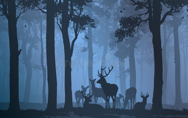 Herd of deer. Natural background with the silhouette of a forest with a herd of deer royalty free illustration