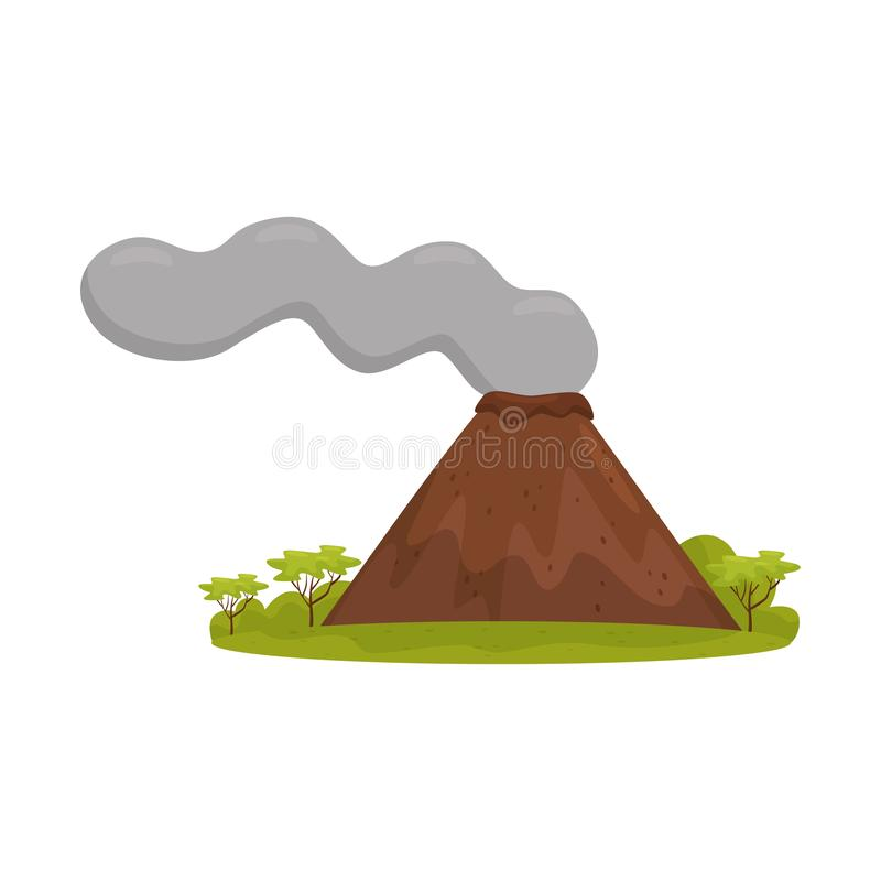 Natural Bali landscape with smoking volcano, green grass and trees. Cartoon vector design royalty free illustration