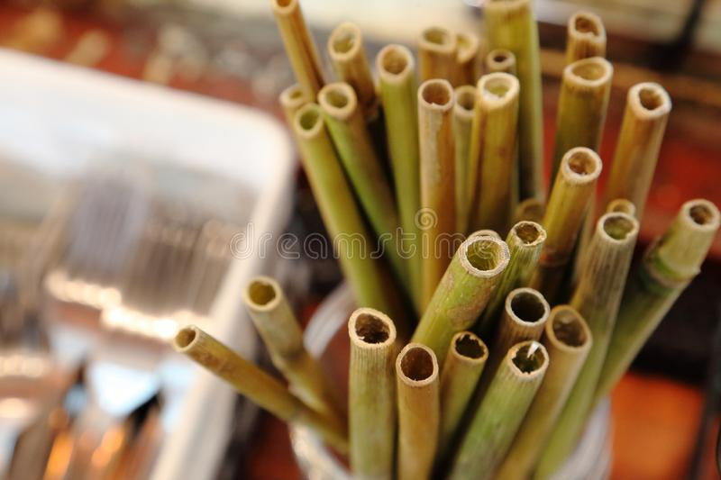 Natural bamboo drinking straw as alternative to plastic one in the cafe with copy space. Natural bamboo drinking straw as alternative to plastic one in the stock photo