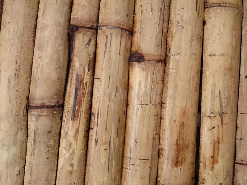 Natural bamboo fence background texture. Asian brown inclined st royalty free stock photography