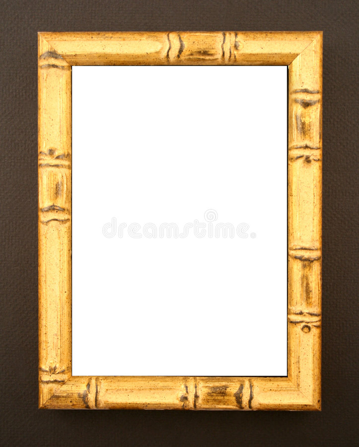 Natural Bamboo Frame On Black Stock Image - Image of cutout, gold ...