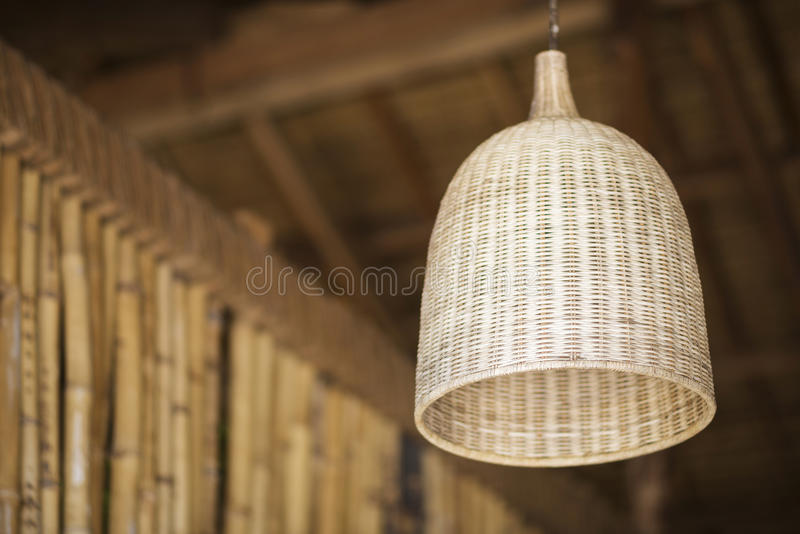 Natural bamboo interior design lampshade detail stock photography