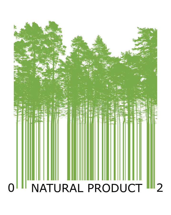 Natural bar code concept with green trees. Natural product bar code concept with green trees silhouettes royalty free illustration