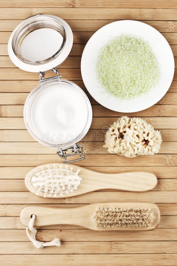 Natural bath accessories royalty free stock photo