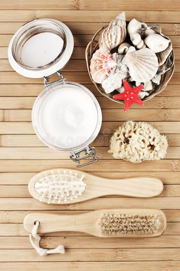 Natural bath accessories stock photography
