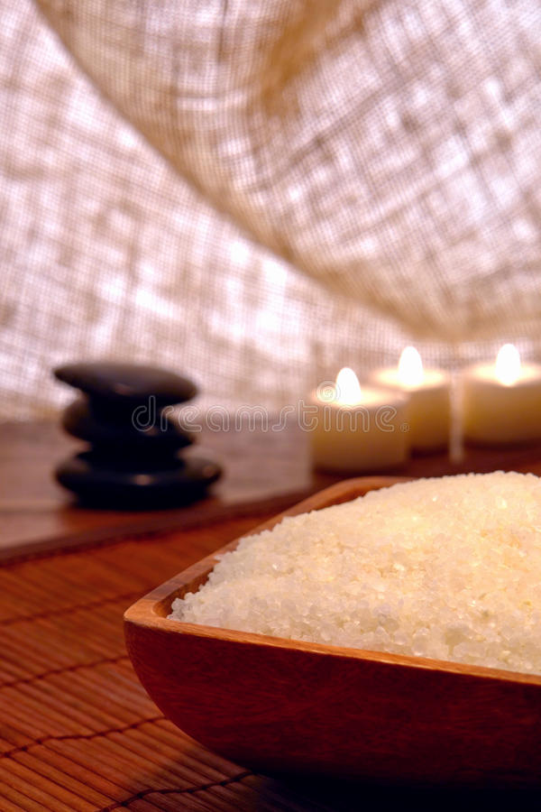 Natural Bath Salts in a Spa stock photo