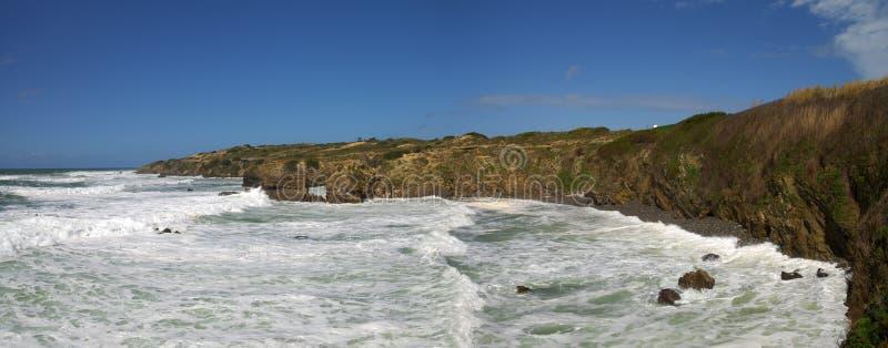 Bay next to Milfontes harbour stock image