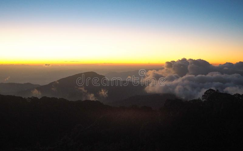 Natural beautiful Sky, Blue, Red Orange And Yellow Colorful Sunrise and cloud. royalty free stock photo
