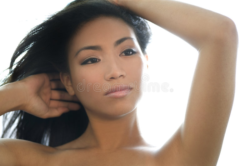 Natural beauty. Fresh faced asian beauty, very clear skin stock image