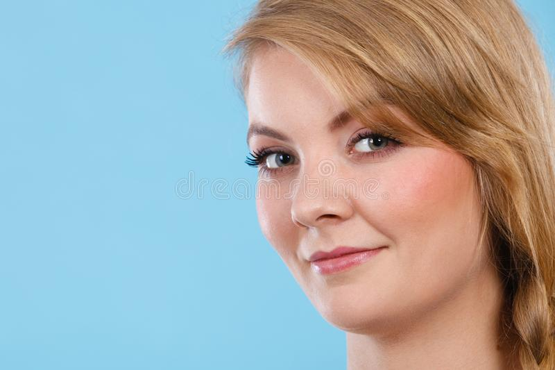 Closeup portrait of beautiful attractive woman smiling stock photography