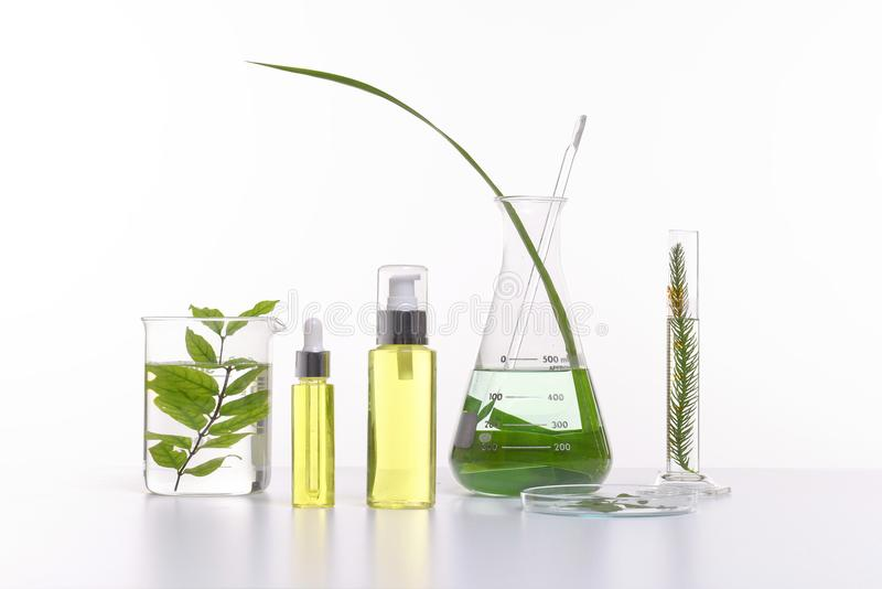 Natural beauty cosmetics product with herbal ingredients, close-up stock photo