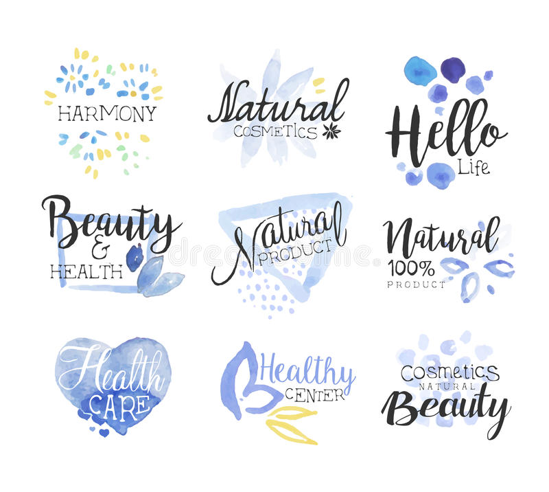 Natural Beauty Cosmetics Promo Signs Colorful Set. Of Watercolor Stylized Logo With Text On White Background royalty free illustration