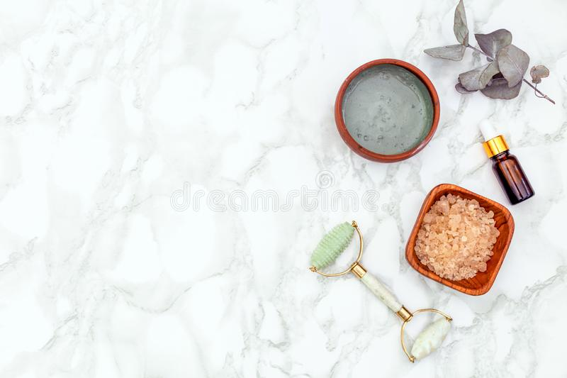 Natural Beauty Products For A Facial Treatment. Facial Roller royalty free stock images