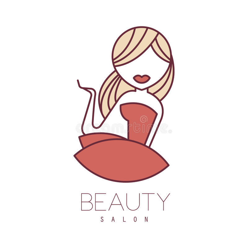 cartoon beauty salon sign natural template drawn hand outlined blond dress promotion artistic vector cosmetology