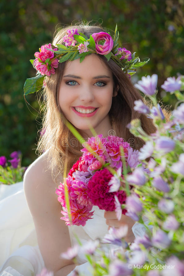 Natural beauty summer young woman stock photography