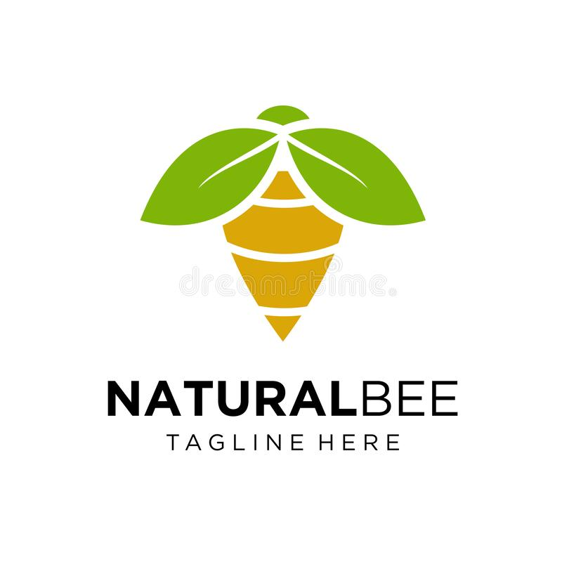 Natural Bee logo design  stock illustration