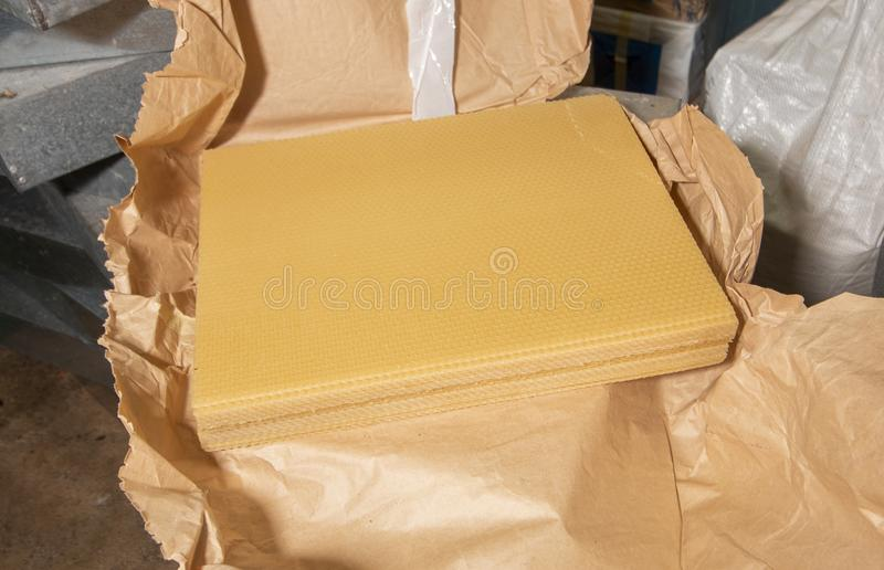 Natural Beeswax Sheets stock photo