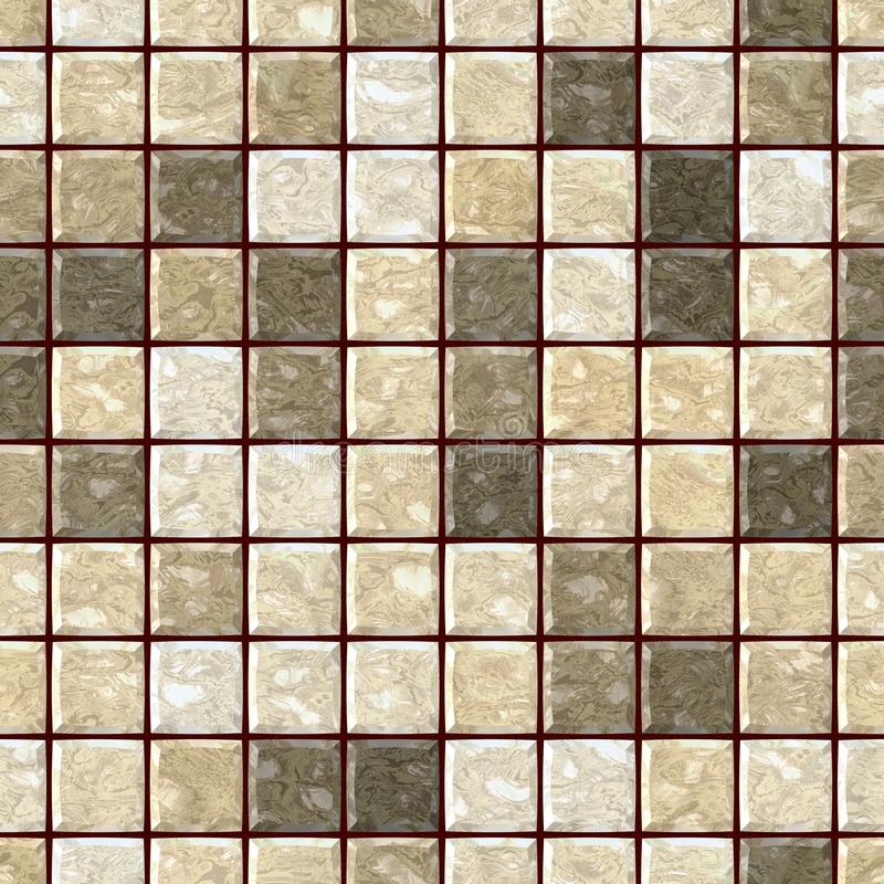 Natural beige marble stony mosaic seamless texture background with dark brown grout - regular squares stock illustration