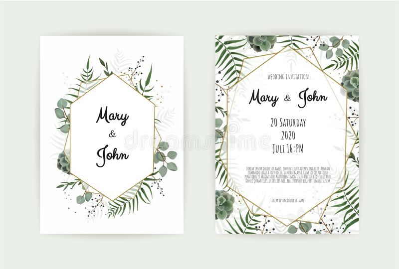 Natural botanical wedding invitation template. Vector floral design card. Geometrical golden frame, border with copy vector illustration