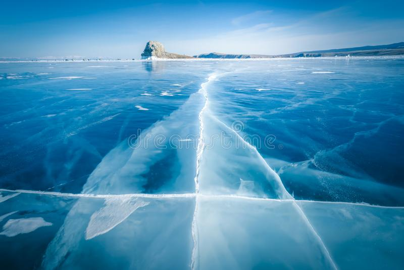 Natural breaking ice in frozen water at Lake Baikal, Siberia, Russia.  royalty free stock photo