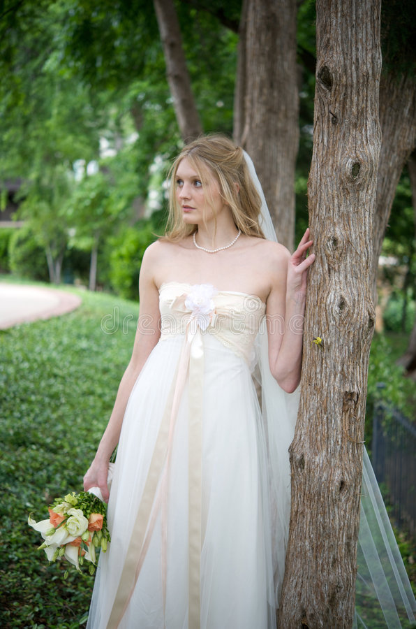 Natural bride against a tree royalty free stock images