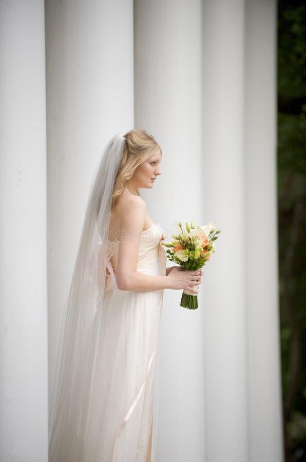 Natural bride among columns stock image