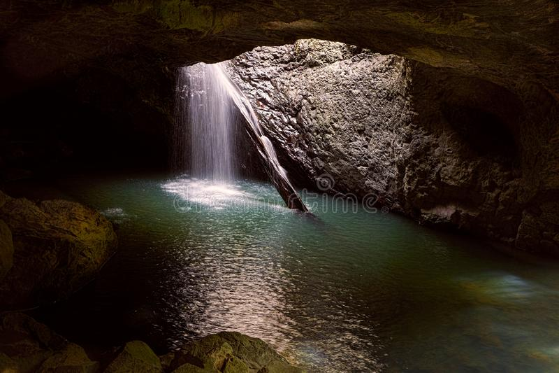 Natural Bridge Cave Waterfall royalty free stock photos