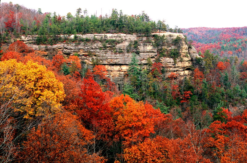 Natural bridge park in fall. View from top of Natural Bridge, Natural Bridge State Park, Daniel Boone, Kentucky in America stock images