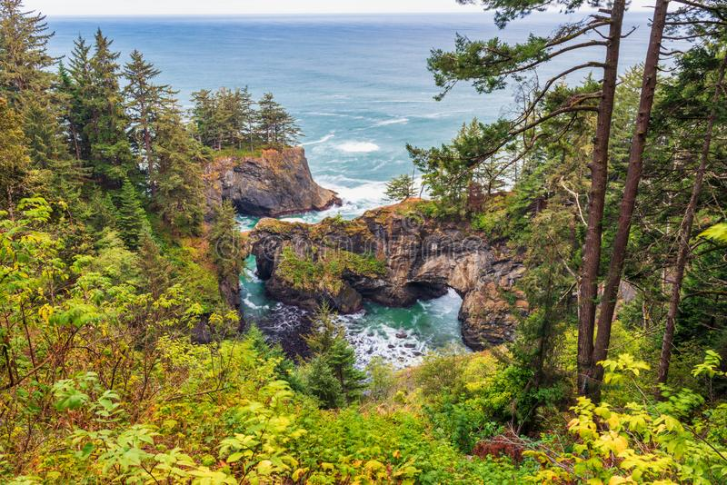Natural Bridges Cove in Brookings Oregon. Natural Bridges Cove in Brookings, Oregon, USA royalty free stock photo