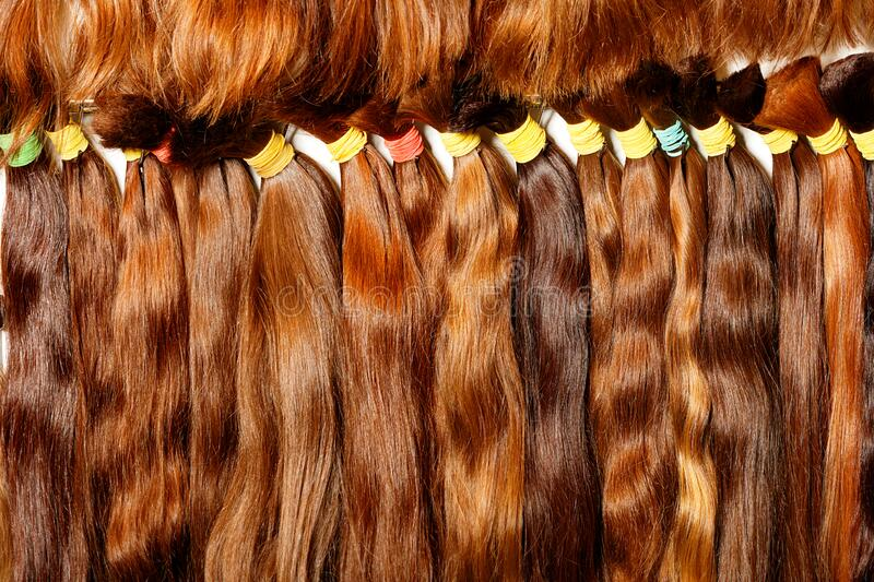 Natural, brown with a different shade, shiny, bunches of healthy hair. Natural brown with a different shade, shiny, colored shiny healthy human hair bundles for stock images