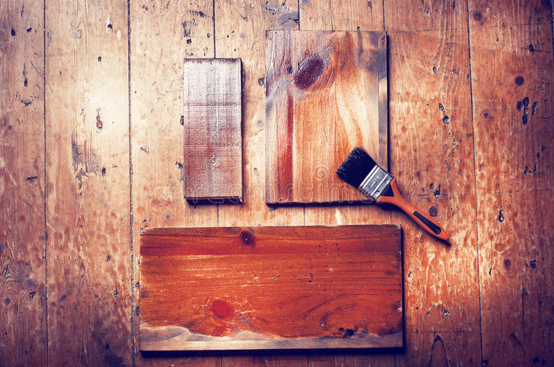 Natural brown wooden planks with copy space on wooden floor back. Ground stock photography