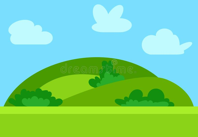 Natural cartoon landscape in the flat style with green hills, blue sky. And clouds at sunny day. Vector illustration royalty free illustration
