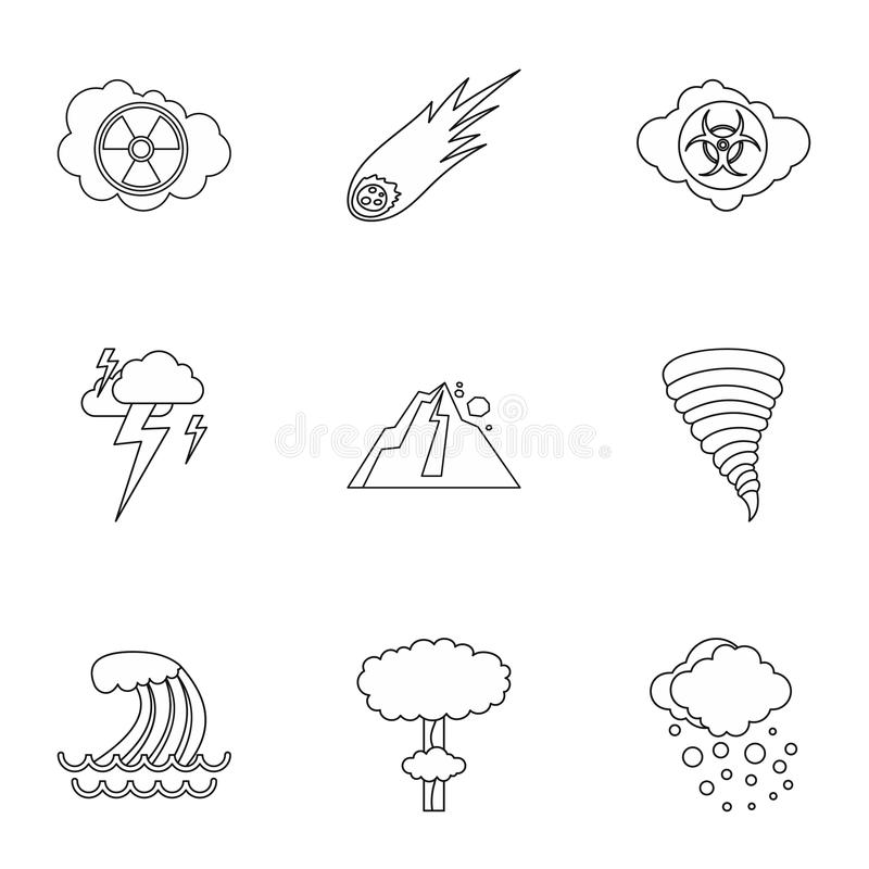 Natural cataclysm icons set, outline style. Natural cataclysm icons set. Outline illustration of 9 natural cataclysm icons for web vector illustration