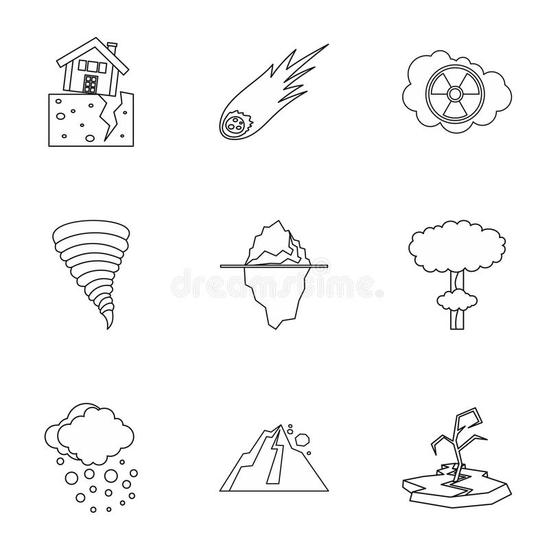 Natural catastrophe icons set, outline style. Natural catastrophe icons set. Outline illustration of 9 natural catastrophe icons for web stock illustration